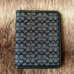 Coach ID Card Case Black Gray Logo